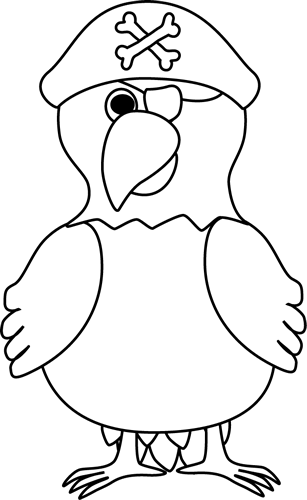 Black and White Pirate Parrot Clip Art - Black and White ...