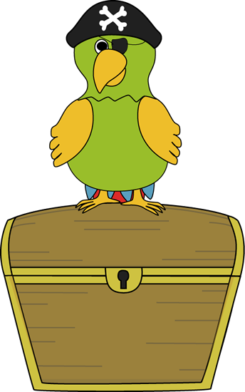 Pirate Parrot Sitting on Treasure Chest Clip Art - Pirate ...