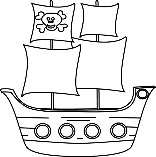 Black and White Pirate Ship Clip Art - Black and White ...