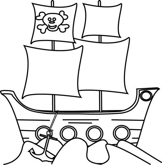 Black and White Pirate Ship in the Water
