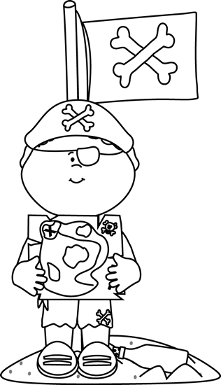 Black and White Pirate with Treasure Map and Flag