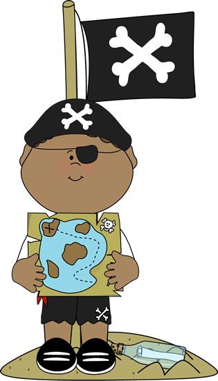 Pirate with Treasure Map and Pirate Flag