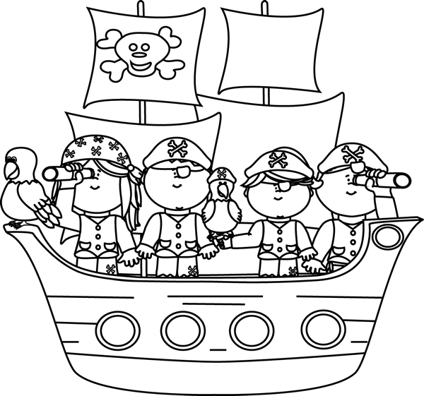 Pirate ship clip art black and white - photo#3
