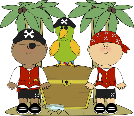 Pirates with Parrot and Treasure
