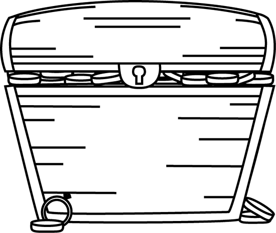 closed box clipart black and white. black and white treasure chest filled with closed box clipart
