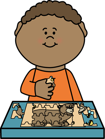 Boy Putting Puzzle Together Clip Art