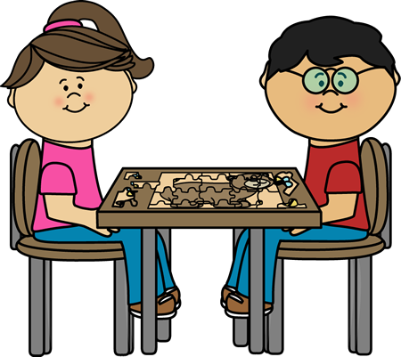 Children Putting Puzzle Together at a Table Clip Art