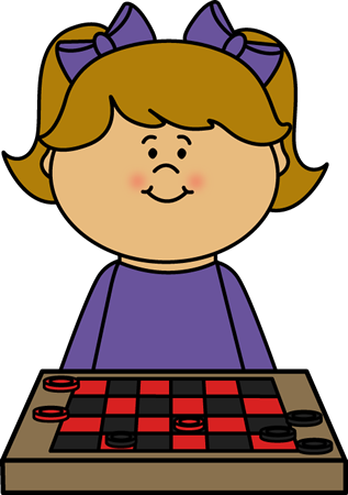 Girl Playing Checkers Clip Art