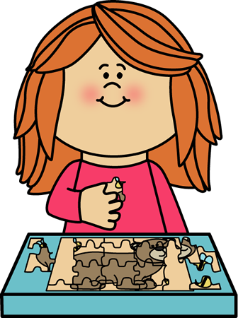 Girl Putting a Puzzle Together Clip Art