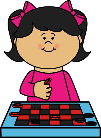 Kid Playing Checkers Clip Art