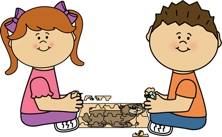 Kids Putting a Puzzle Together Clip Art