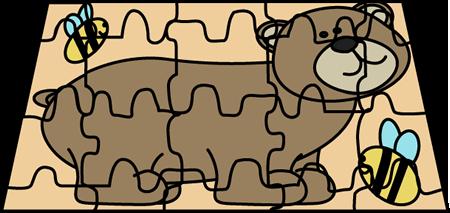 Puzzle Board Clip Art Image - bear puzzle board