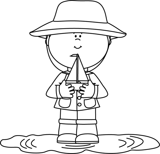 black and white boy in rain puddle with toy boat clip art black and white boy in rain puddle with toy boat image rain puddle with toy boat clip art