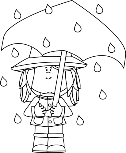 Black and White Girl Standing in the Rain