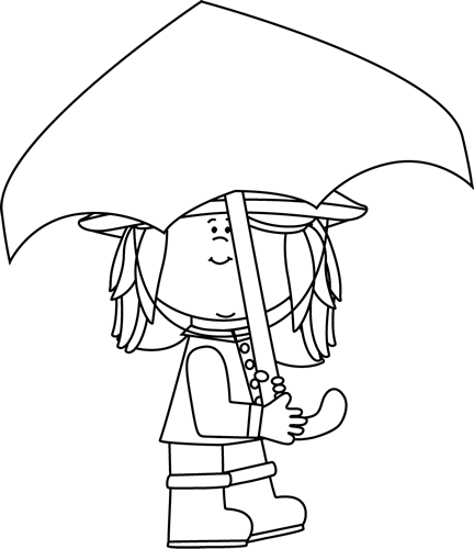 Black and White Girl Walking with Umbrella