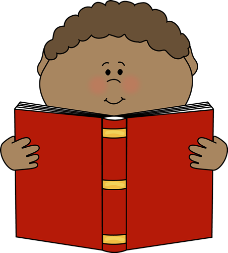 Little Boy Reading a Book Clip Art