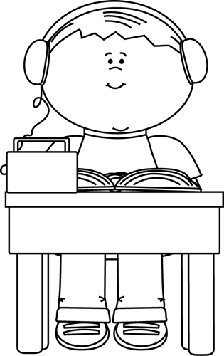 Black and White Boy Reading and Listening to a Book