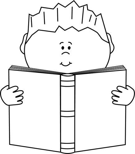 Reading Clip Art Black and White 436 x 500