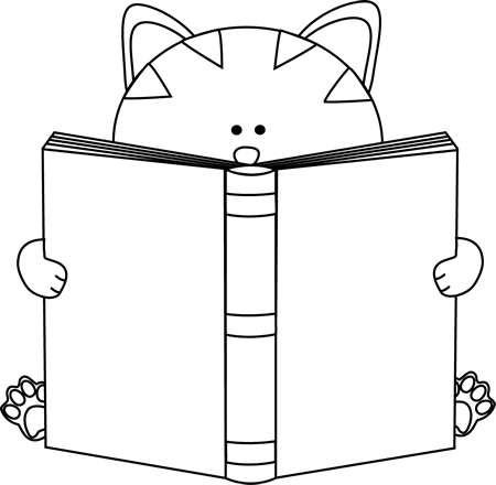 Black and White Cat Reading a Book