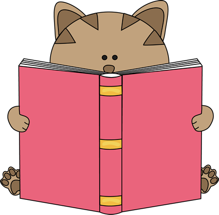 Cat Reading Book Clip Art