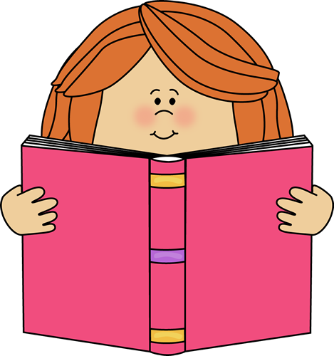 Girl Reading a Book Clip Art
