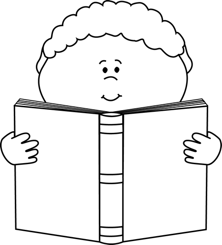 Black and White Little Boy Reading a Book