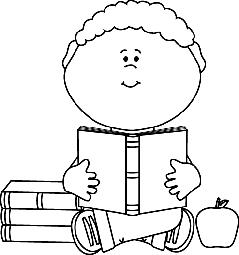 Black and White Little Boy Reading a School Book