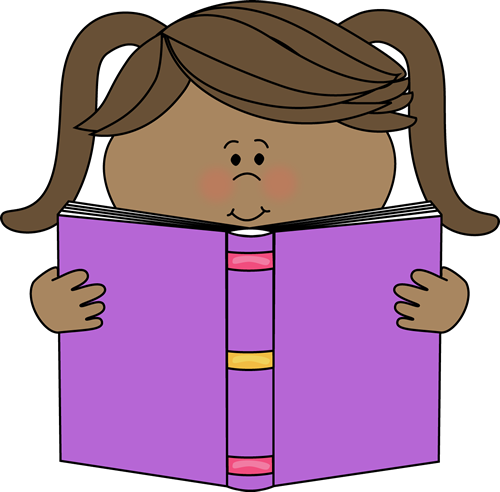 Little Girl Reading a Book Clip Art