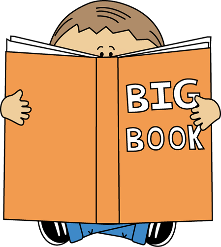 Boy Reading a Big Book Clip Art