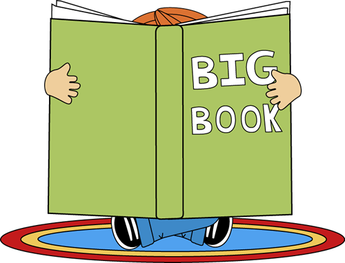Kid Reading a Big Book Clip Art