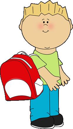 School Boy Wearing a Backpack