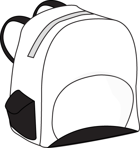 Black and White Backpack Clip Art Image - black and white backpack ...