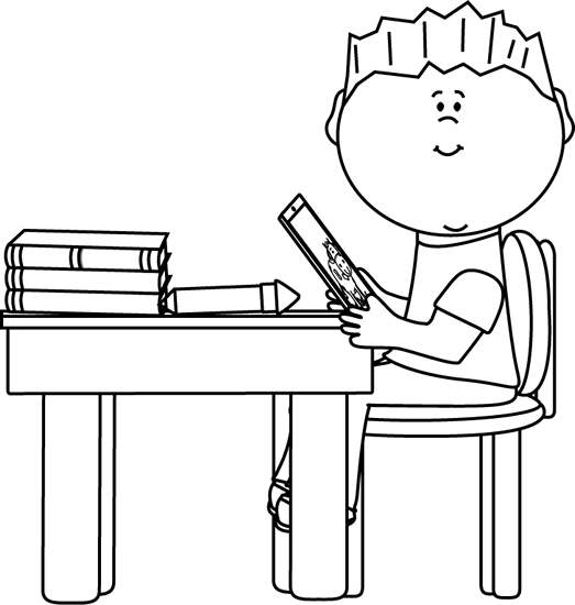 Black and White Boy at School Desk with Tablet Clip Art Black