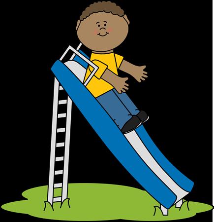 Boy on a Slide Clip Art