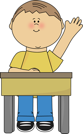 school desk and raising his hand. This image is a transparent png