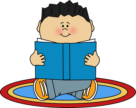 Boy Reading on a Rug Clip Art