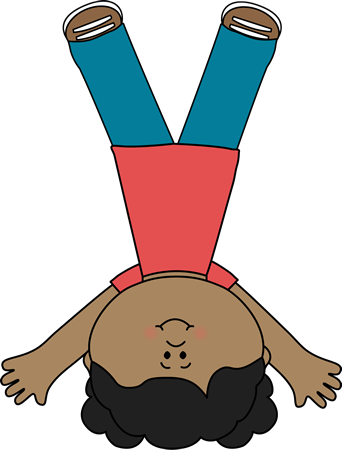 Cartwheel Clip Art Image - girl upside down doing a cartwheel