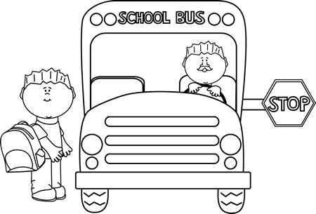 Black and White Child Getting on a School Bus