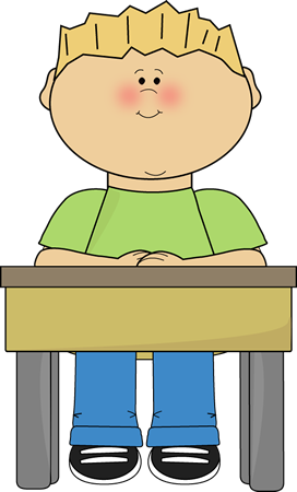Student Sitting at School Desk