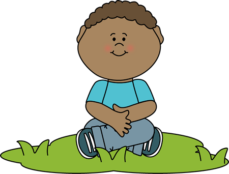 Child Sitting in the Grass Clip Art