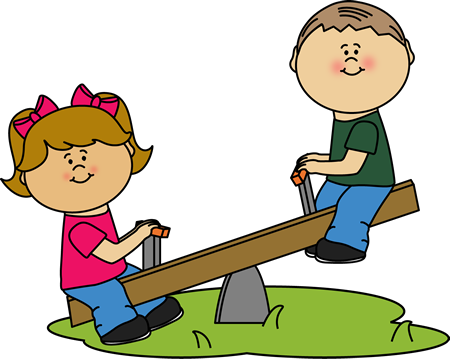 Children on a See Saw Clip Art