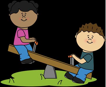 Children on a Teeter Totter Clip Art