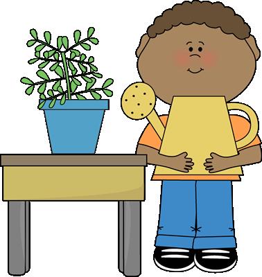 Boy Classroom Plant Helper Clip Art