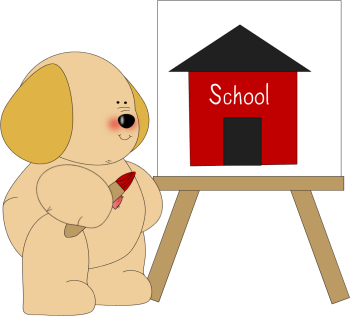 Dog Painting a School House