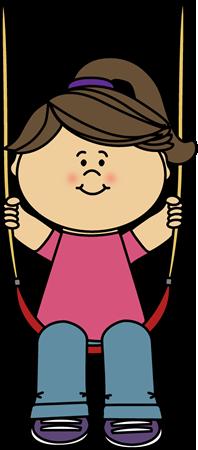 Girl on a Swing Clip Art