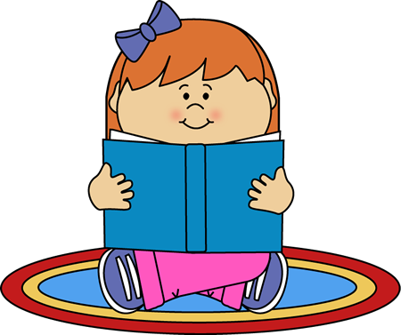 Girl Reading on a Rug Clip Art