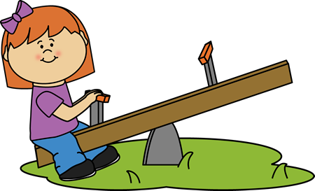 Girl on a See Saw Clip Art