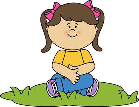 Girl Sitting in the Grass Clip Art