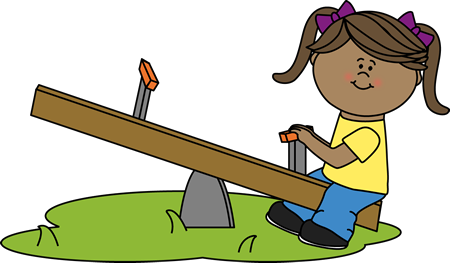 Girl on a Teeter Totter Clip Art