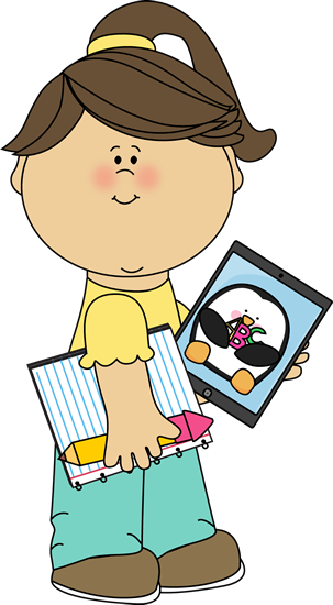 Girl with School Supplies and Tablet